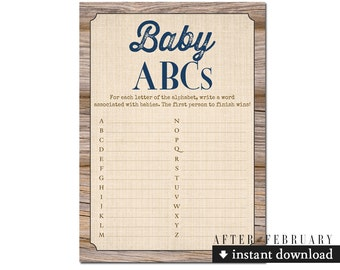 Rustic Baby ABCs Wood Farm Rustic Baby Shower Games Boy Printable // INSTANT DOWNLOAD No.709NAVY