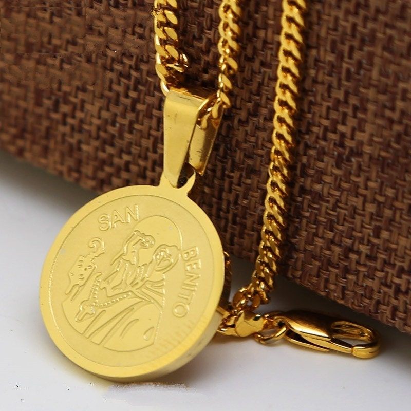 24k Gold Plated San Benito St Saint Benedict Medallion Medal
