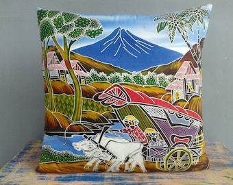 Pillow Cover Cowboy Mountain Art Pillow Merapi Java Batik Gift Gift for Mom Modern Boho Chic OOAK Gift Lounge Lillow Teenage Birthday Gift
