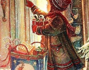 Fabric Art Quilt Block -  Christmas Visit - 10699  FREE Shipping