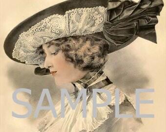 Fabric Art Quilt Block *Fashion Hat* 10444 FREE SHIPPING