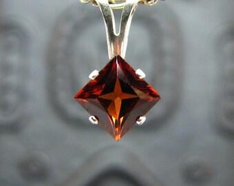 Red garnet pendant, sterling silver round pendant with garnet, pendant necklace red garnet 5x5 mm genuine garnet necklace