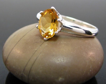 citrine ring, Citrine Ring Silver size 3 4 5 6 7 8 9 10 11 12 13  sterling silver ring November Birthstone Ring genuine citrine emerald