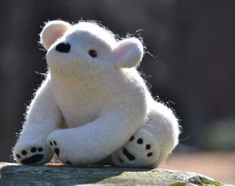 OOAK white bear-Needle Felted by hand