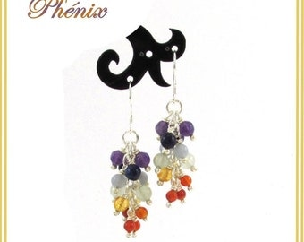 "Natural amethyst, lapis lazuli, angelite, aventurine, citrine, calcite et carnelian chakra earrings ""Rainbow Phenix"""