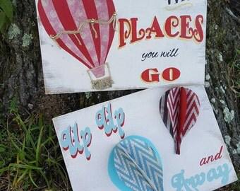 Custom Signs, Custom Painted Signs, Nursery Signs, Balloon Sign, Balloon Signs, Nursery Room Signs, Hot Air Balloons, Hot Air Balloon Signs
