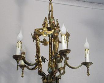Antique Vintage Art Deco Original Chandelier Light Fixture Ceiling Lamp