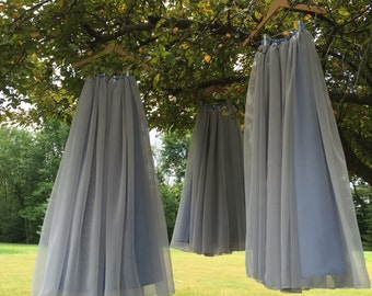 Chiffon skirt, any length and color Bridesmaid skirt, floor length, tea length, knee length empire waist grey chiffon skirt