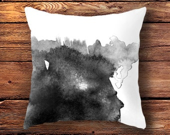 Black and White Pillow Case, cushion cover, pillow cover, ink paint, pillow case, minimalist,  black and white home decor art, pillow cover
