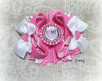 Pink  Bow, Aunt Bow, Aunt Hair Bow, Over the Top Bow, Boutique Bow, Stacked Hair Bow
