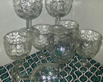 Set of (8) Eight Clear Glass Bartlett & Collins Dimple and Drape Footed Heavy Water Goblets