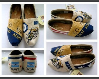 Custom Veteran TOMS Hand Painted Shoes Military Mom Wife Girlfriend Toms Navy Army Marine Air Force Coast Guard Christmas Gift Women's TOMs