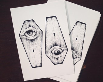 two coffins 5x7 art print