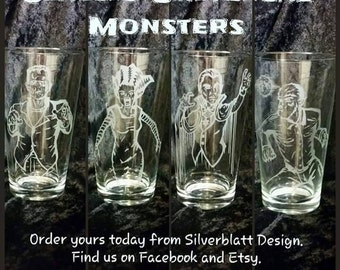 Universal 4 Classic Horror Monster Glassware Set Wolfman Dracula Frankenstein's Monster Bride of Frankenstein Special Unique Monster Design