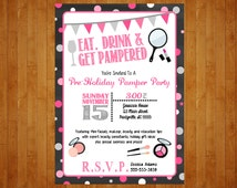 Make-up Party Invitation or Lingerie Bachelorette Spa Pamper Invitation Mary Kay Avon Party Invitation pink and black invite digital file