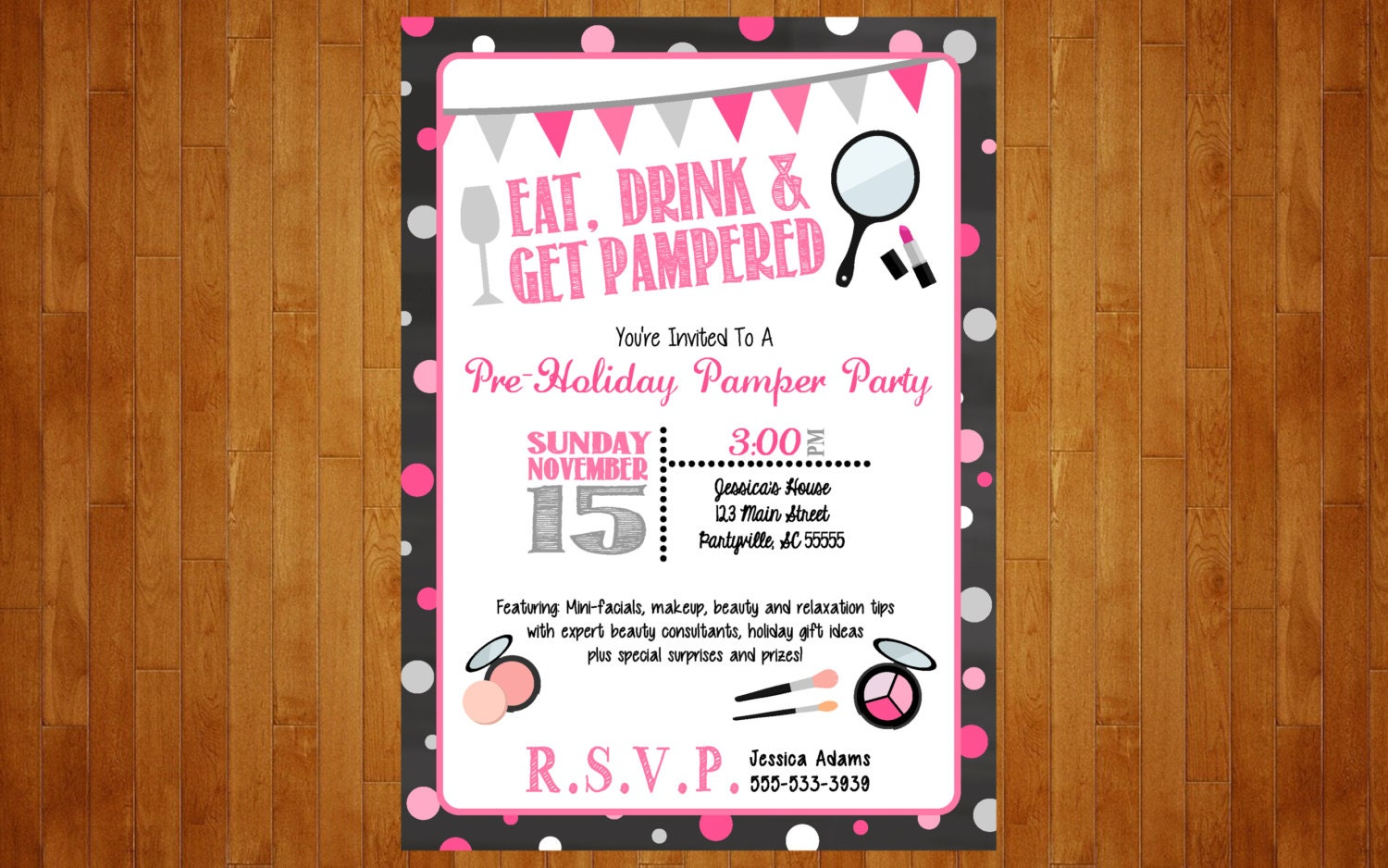 make-up party invitation or lingerie bachelorette spa pamper, Party invitations