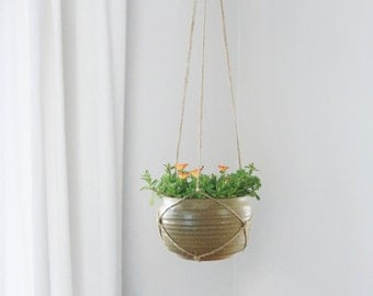 Vintage Hanging Planter | Sandstone Pottery |  Beige & Brown Plant Pot Holder | Indoor Garden | Succulent, Air Plant