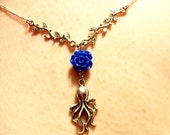 Blue Rose Octopus Necklace