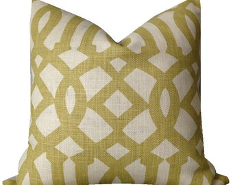 Schumacher Pillow Kelly Wearstler Pillow Imperial Trellis Citrine Pillow Linen on Reverse ONE PILLOW COVER Geometric Pillow Pillow Cover