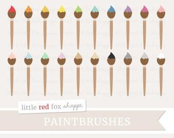 Paintbrush Clipart, Painting Clip Art Paint Brush Art Watercolor Teacher Classroom Class Cute Digital Graphic Design Small Commercial Use