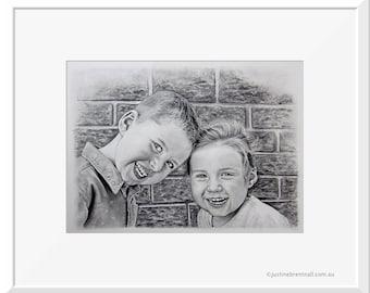 A3 Custom Portrait (EXAMPLE) Hand Drawn , Pencil Drawing, Pet Portrait, Family Portrait, Personalized Portrait, Couples Portrait