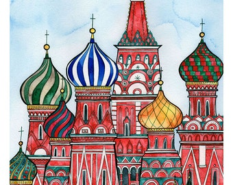 MOSCOW RUSSIA Print 11X14 Ink and Watercolor Painting