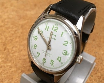 Vintage HMT Janata Para Shock 17 Jewels Mens India Made Hand Winding Mechanical Watch Hours Clock ~New Leather Band~ Runs~Keeps Time