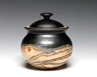 Small Kitchen Canister, Lidded Jar, Pottery Sugar Bowl, Stoneware Storage Jar, Ceramic Covered Jar