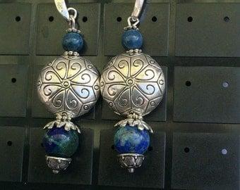 Blue gem and Tibetan silver Earrings