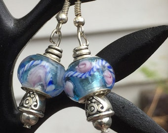 Blue Murano bead Earrings