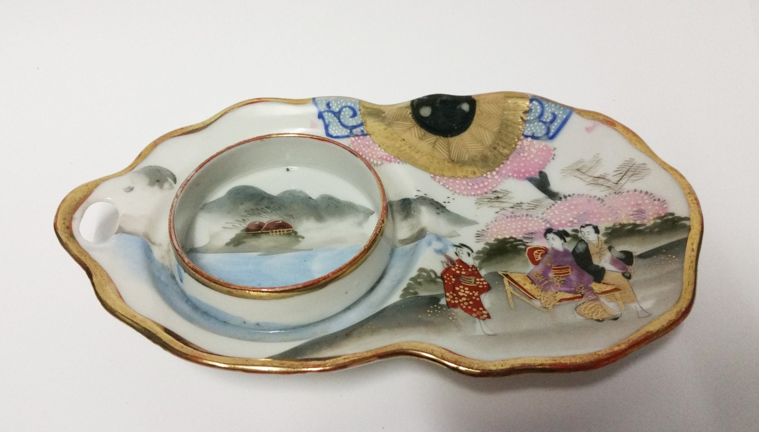 Vintage hand painted japanese canape starter serving dish for Canape serving dishes