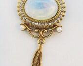 Vintage 1950s Signed Hattie Carnegie Gold Toned Faux Moonstone and Rhinestone Tassel Pin