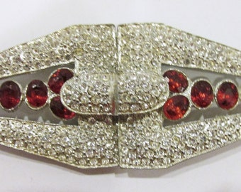 Extraordinary Vintage 1930s Pot Metal Art Deco Clear and Ruby Red Rhinestone Belt Buckle