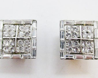 Desirable Vintage 1950s Signed Pell Square Shaped Clear Rhinestone Earrings