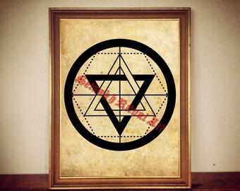 Martinist Order emblem print, occult pentacle poster, esoteric art, occultism, magick, ritual altar decor, seal, magic symbol #357