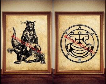 2 Agares demon seal print, Goetia sigil poster, Lemegeton demon art, The Lesser Key, occult pentacle, ritual, summoning demons canvas #104.2