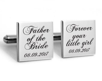 Stainless steel cuff links, engraved cufflinks, personalized quality metal cuff links, father of the bride cuff links