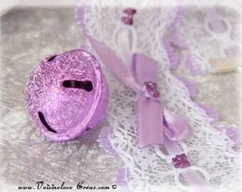Purple and white neko kawaii lace necklace