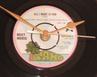 "Roxy Music all i want is you  7"" vinyl record clock"