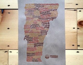 Breweries of Vermont Hand Lettered Poster, Brewery Poster, Vermont Poster