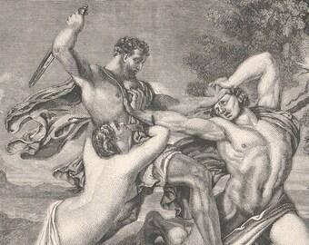 1852 Steel Engraving — The Combat