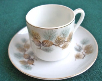 Vintage Norcrest China Pinecone Demitasse' Tea Cup and Saucer C-20