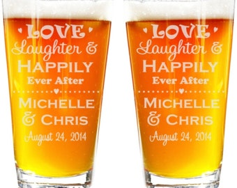 Love Laughter & Happily Ever After Pint Glasses, Mr and Mrs Pint Glasses, Bride and Groom Pint Glasses, Wedding Toasting Glasses, Rustic