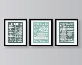 Wonderful 3 SETS ON SALE   Teal Kitchen Decor Print Set   Teal Kitchen Wall Art