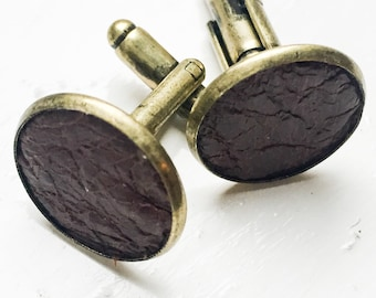 Distressed Dark Brown Leather cufflinks | Wedding Cuff links Groom | Gift for men l Groomsmen cufflinks | Valentines gift