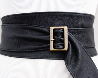 Black Leather Obi Buckle Belt | Black Belt | Corset Obi Belt | Leather Buckle Belt | Plus Size Belts