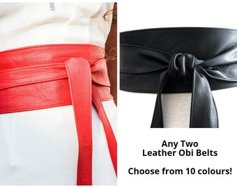 Any Two Leather Obi belts | Real Leather belts | Multi listing | Obi tie Belts | Ladies Leather belts | plus size | corset belts