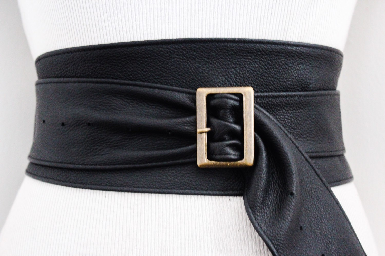 black leather obi buckle belt black belt corset obi