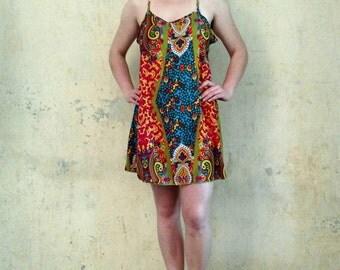 Short Summer Mini Dress Criss-Cross on the Back Dress Boho Mini Dress Flowy Summer Dress
