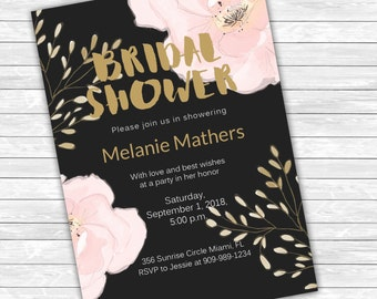 """anemone and Floral Bridal Shower Invitations 5"""" x 7"""""""